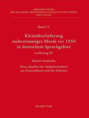 cover image of Kleinüberlieferung mehrstimmiger Musik vor 1550 in deutschem Sprachgebiet, Lieferung IX