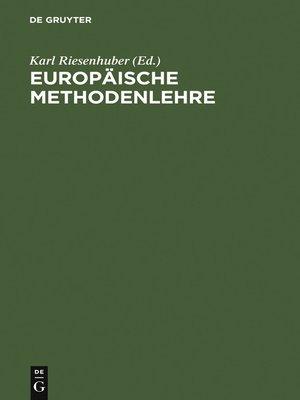 cover image of Europäische Methodenlehre
