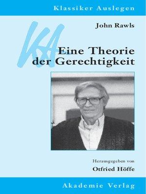 cover image of John Rawls – Eine Theorie der Gerechtigkeit