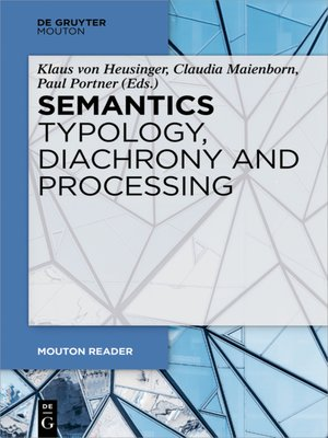 cover image of Semantics--Typology, Diachrony and Processing