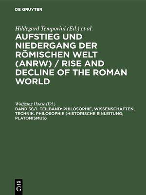 cover image of Philosophie, Wissenschaften, Technik. Philosophie (Historische Einleitung; Platonismus)