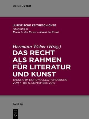 cover image of Das Recht als Rahmen für Literatur und Kunst