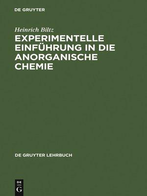 cover image of Experimentelle Einführung in die Anorganische Chemie