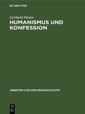 cover image of Humanismus und Konfession