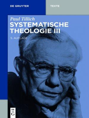 cover image of Systematische Theologie III
