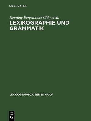 cover image of Lexikographie und Grammatik