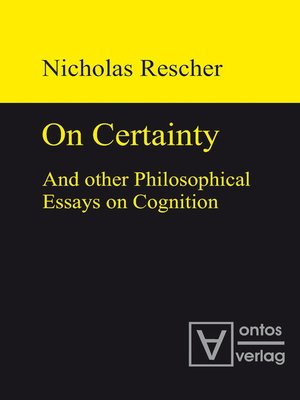 cover image of On certainty and other philosophical essays on cognition