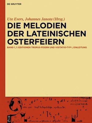 cover image of Die Melodien der lateinischen Osterfeiern