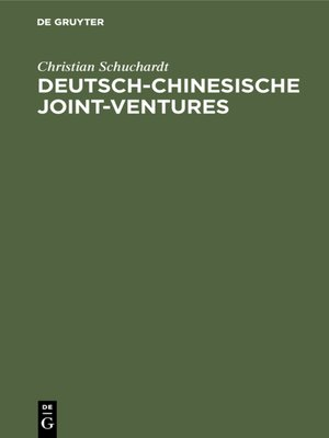 cover image of Deutsch-chinesische Joint-ventures