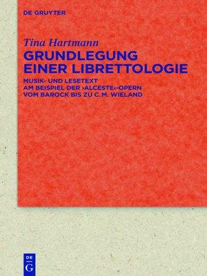cover image of Grundlegung einer Librettologie
