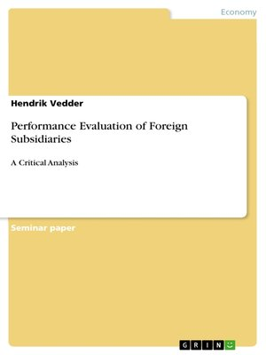 cover image of Performance Evaluation of Foreign Subsidiaries