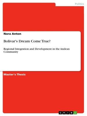 cover image of Bolivar's Dream Come True?