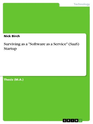 "cover image of Surviving as a ""Software as a Service"" (SaaS) Startup"