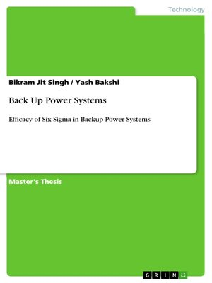cover image of Back Up Power Systems