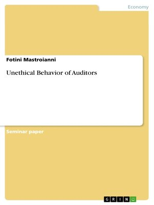 cover image of Unethical Behavior of Auditors