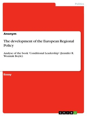 cover image of The development of the European Regional Policy