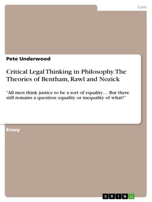 cover image of Critical Legal Thinking in Philosophy. the Theories of Bentham, Rawl and Nozick