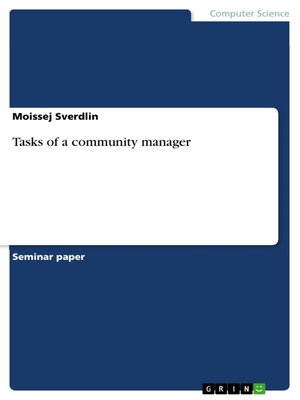 cover image of Tasks of a community manager