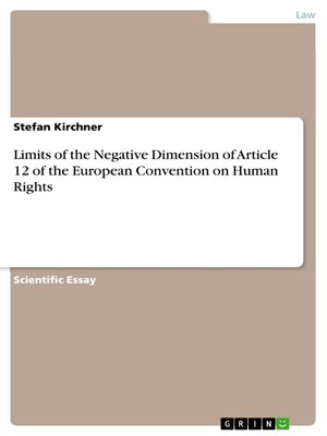 cover image of Limits of the Negative Dimension of Article 12 of the European Convention on Human Rights