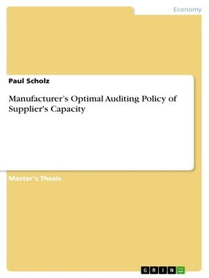 cover image of Manufacturer's Optimal Auditing Policy of Supplier's Capacity