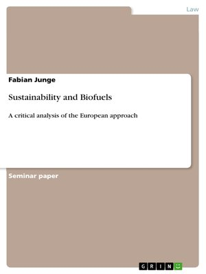 cover image of Sustainability and Biofuels