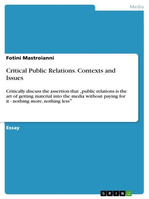 cover image of Critical Public Relations. Contexts and Issues
