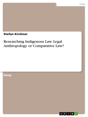 cover image of Researching Indigenous Law. Legal Anthropology or Comparative Law?
