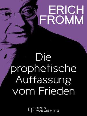cover image of Die prophetische Auffassung vom Frieden