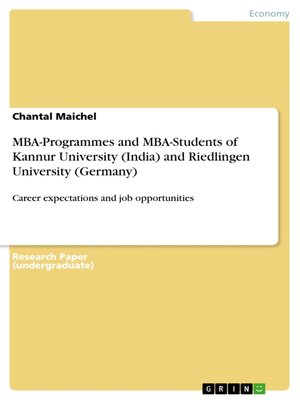 cover image of MBA-Programmes and MBA-Students of Kannur University (India) and Riedlingen University (Germany)