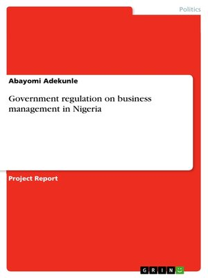 cover image of Government regulation on business management in Nigeria