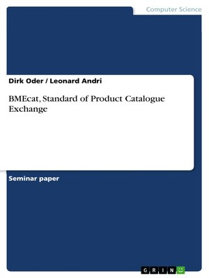 cover image of BMEcat, Standard of Product Catalogue Exchange