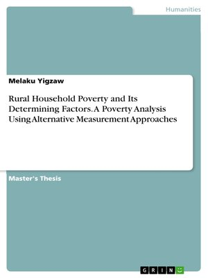 cover image of Rural Household Poverty and Its Determining Factors. a Poverty Analysis Using Alternative Measurement Approaches