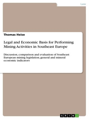 cover image of Legal and Economic Basis for Performing Mining Activities in Southeast Europe