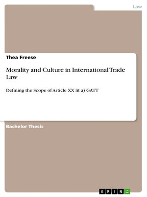 cover image of Morality and Culture in International Trade Law