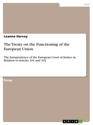 cover image of The Treaty on the Functioning of the European Union