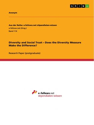 cover image of Diversity and Social Trust –  Does the Diversity Measure  Make the Difference?