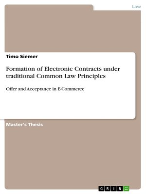 cover image of Formation of Electronic Contracts under traditional Common Law Principles
