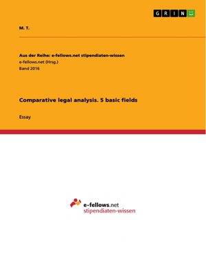 cover image of Comparative legal analysis. 5 basic fields