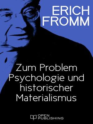 cover image of Zum Problem Psychologie und historischer Materialismus