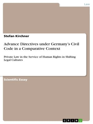cover image of Advance Directives under Germany's Civil Code in a Comparative Context