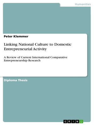 cover image of Linking National Culture to Domestic Entrepreneurial Activity