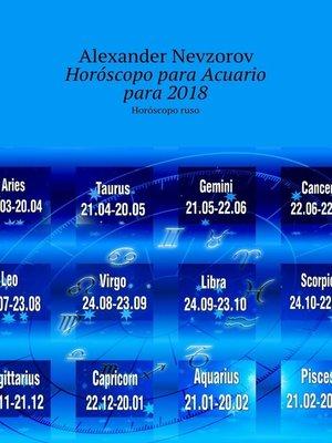 cover image of Horóscopo para Acuario para2018. Horóscoporuso
