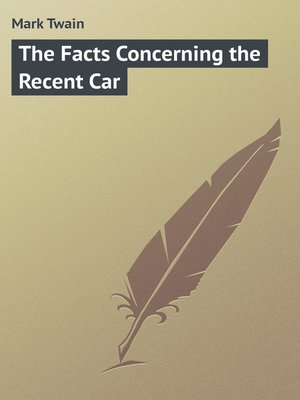 cover image of Facts Concerning the Recent Car