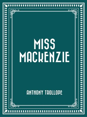 cover image of Miss Mackenzie