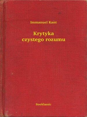 cover image of Krytyka czystego rozumu