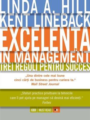 cover image of Excelența în management. Trei reguli pentru succes