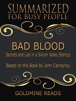 cover image of Bad Blood - Summarized for Busy People
