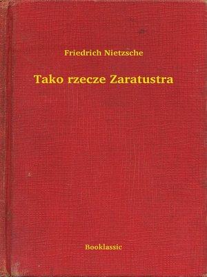 cover image of Tako rzecze Zaratustra