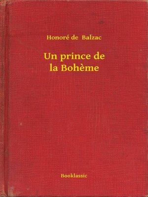 cover image of Un prince de la Boheme