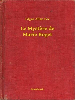 cover image of Le Mystere de Marie Roget